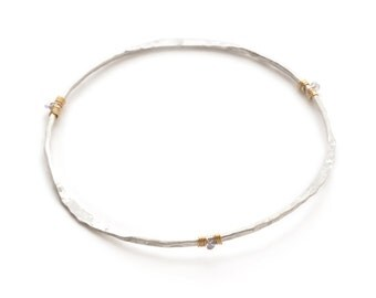 Fine Silver Bangle, Charm Bangle, Pearl Bangle, Bracelet