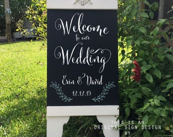 Custom Wedding Sign, Welcome to our Wedding, Chalkboard Style Signs, Bride and Groom Signs, A Frame Signs, Sandwich Board Signs, 37 x 16