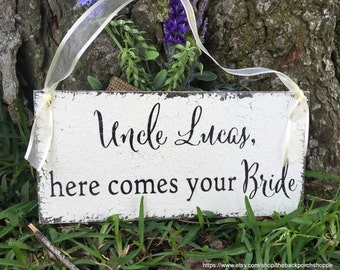 WEDDING SIGNS, Uncle Signs, Here comes your Bride, Ring Bearer Signs, Flower Girl Signs, Mr. and Mrs Signs, 5.5 x 11.5