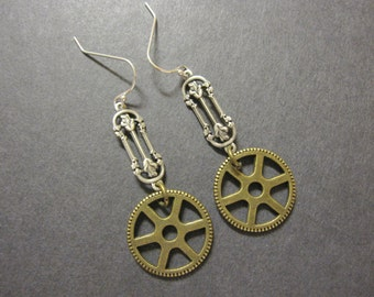 Steampunk Earrings, Steampunk Gears, Dangle, Brass Gears, Silver Filigree, Cosplay Jewelry, Brass Ox, Geekery, Gothic Earrings, Victorian
