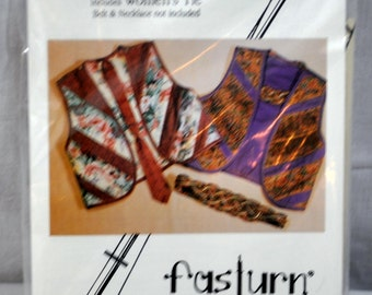 Fasturn Patterns FP-120 Reversible Tube Vests & Tie Sewing Pattern S-M-L-Plus Sizes