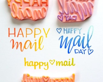 Happy Mail - Hand Carved Rubber Stamp
