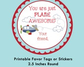 Airplane Valentine Tag, Instant Download Tags or Stickers --- Digital File of 12 2.5 inch Round Stickers or Tags