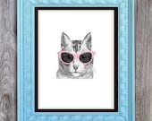 SALE Cat Eye Glasses Cat Print Includes 5 backgrounds Instant Digital Download DIY Print yourself