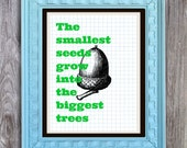 SALE Smallest Seeds Biggest Trees Art Print Includes 5 backgrounds Instant Digital Download DIY Print yourself Children's decor