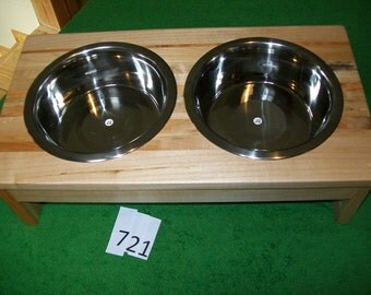 Handcrafted Two Quart Double Raised Pet Feeder