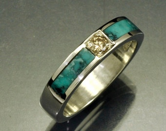 Silver Turquoise Inlay Band with .12ct. Yellowish Diamond Center Stone
