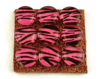 Glass Push Pins  Thumb Tacks Cork Board Pins in  Hot Pink Zebra (P58)
