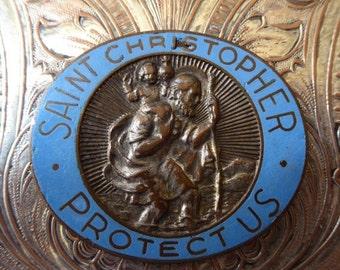 HUGE SALE Vintage Copper & Blue Enamel Saint Christopher Plaque Token, Protector Of Travelers Automobile Drivers Christ-Bearer, Portable Poc