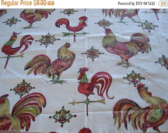 "50% OFF SHOP SALE Charming Roosters and Weathervanes Fabric - 36"" W x 17"" L"