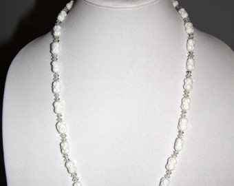 Vintage 1920s Crystal Necklace White Molded Glass Czech Necklace Earring Set Antique Bridal Necklace