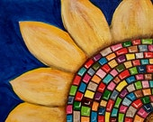 Flower Mosaic Colorful Original Painting ACEO Art