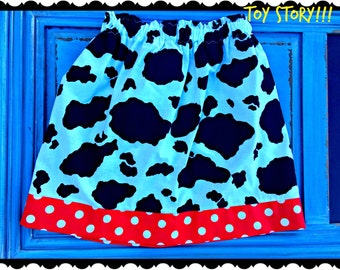 Toy Story skirt cow print Jessie girls size 2T 3T 4T 5T 5/6 7/8 10/12 and 14