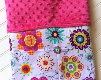 Personalized-Baby-Blanket-Girls-Flowers-Pink-Quilts-Stroller-Receiving-Swaddling-Minky-Kids-Room-Decor-Crib-Nursury-Newborn-Toddler-Gift