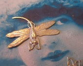 Gold Plated Frosted White Patina Brass Dragonfly Stampings 325WHT x2
