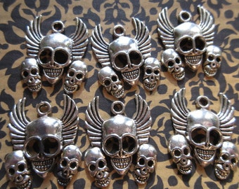 Oversized Winged skull charms, triple skull charm, triple skull with wings charm,