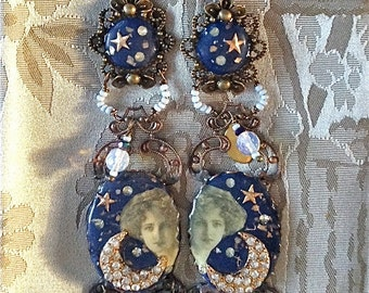 Lilygrace Blue Moon Maiden Long Dangle Earrings with Vintage Rhinestones and Opalite Beads