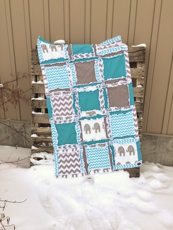 elephant baby quilt bedding for boys turquoise gray. Black Bedroom Furniture Sets. Home Design Ideas