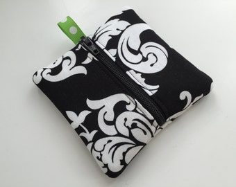 Mini Key Pouch in Black and White Elegance