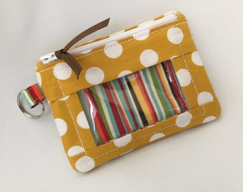 Zip ID Case in Mustard Crazy Dot