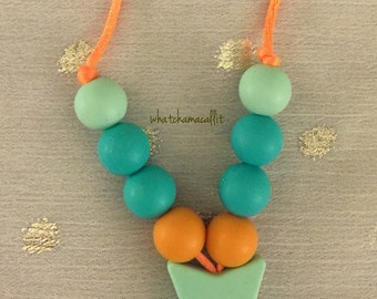 Teething Necklace, Food Grade Silicone, Beads, Mom Jewelry