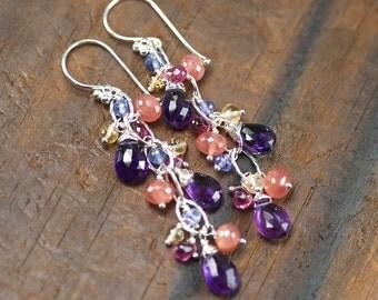 Amethyst earrings, Rhodochrosite, Tanzanite, Pink Tourmaline, Citrine chain gemstone dangle, 925 Silver hooks ... SULWYN Earrings