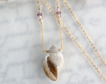 Druzy Shell Necklace, Beautiful Druzy Seashell fossil in Gold