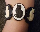 Cat, Cat cuff, Cat bracelet, Kitty, Kitty cuff, Cameo, Cameo cuff,  Crazy cat lady, Catcon, Black cat, White cat, cat jewelry