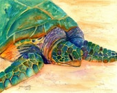 Hawaiian Sea Turtle Fine Art Print 8x10 - Kauai Art - Honu Paintings - Childrens Wall Art - Ocean Sea Decor - Animal Giclee Print - Beach