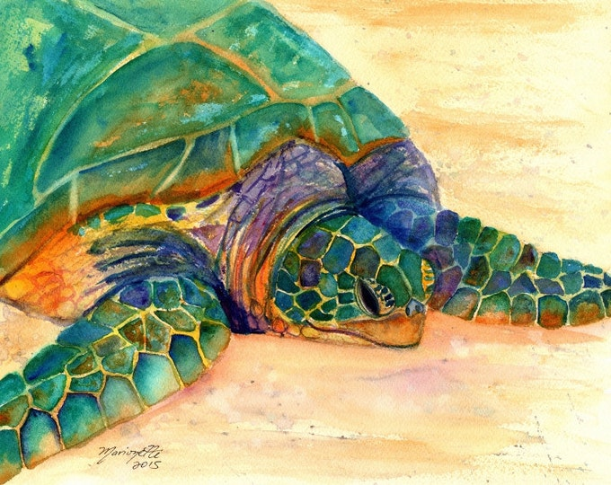 Hawaiian Sea Turtle Fine Art Print 8x10 - Kauai Art - Honu Paintings - Childrens Wall Art - Ocean Sea Decor - Animal Giclee Print - Beach