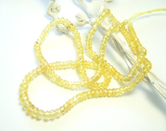 RESERVED - Canary Yellow Sapphire Roundels - Half Strand - 2.25 to 3.5mm - 7.75 Inches