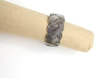 Vintage Braided Silver Tone Metal Bracelet | Silver Plated Bracelet | Hinged Bangle Bracelet