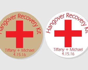 Hangover Recovery Kit Personalized Wedding Stickers - kraft or white - 1.5 inch - 2 inch - 2.5 inch - 3 inch - Bridal Shower