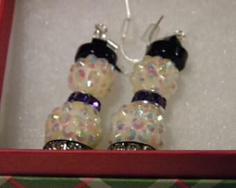 Earrings - Cute Sparkly Snowman Earrings