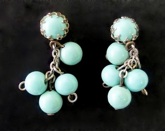 Vintage Turquoise Emmons Clip On Dangle Drop Cluster Earrings