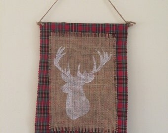 Red Plaid Deer Hanging Wall Banner