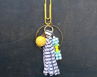 Bead and Tassel Charm Cluster Pendant Key Chain or Purse Zipper Charm Yellow Baby Blue Black and White Stripe