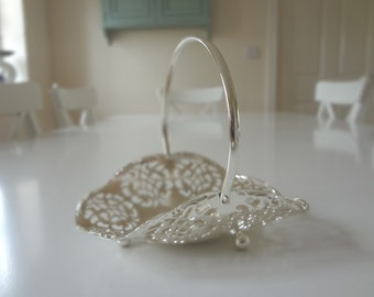 Silver Plate Bon Bon Dish With Filigree and Handle Basket Quist - EnglishPreserves