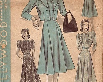 Vintage 40s REPRO Shirred Front Day Dress Suit Cropped Jacket Sewing Pattern B34