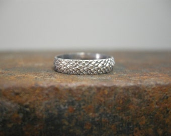 handmade snakeskin design sterling ring, snake pattern silver ring, size 5, ready to ship dragon scales reptile texture sterling silver ring