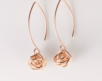 Rose Gold Knot Earrings, Long Knot Earrings, Long Rose Gold Earrings