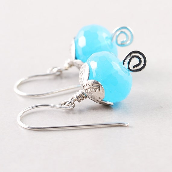 Teal Sea Foam Sterling Earrings
