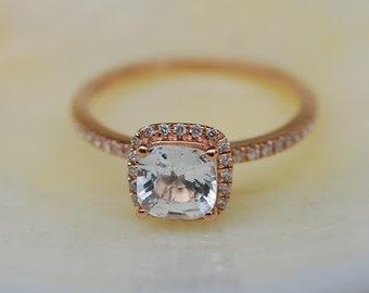 White sapphire ring.  Engagement Ring square cushion 14k rose gold diamond ring. 1.16ct sapphire ring by Eidelprecious.