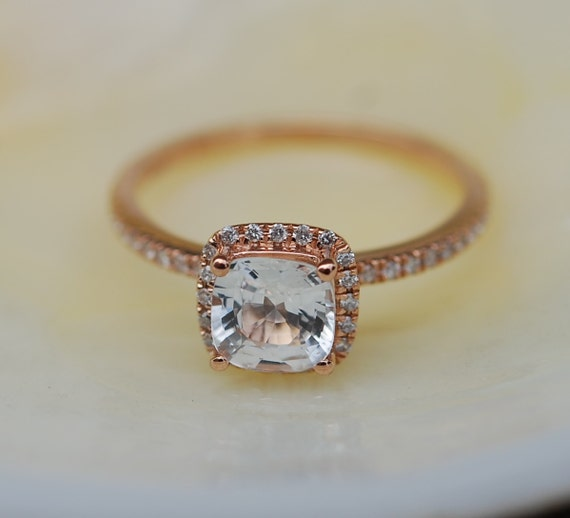 White sapphire ring.  Engagement Ring square cushion 14k rose gold diamond ring. 1.16ct sapphire ring by Eidelprecious.