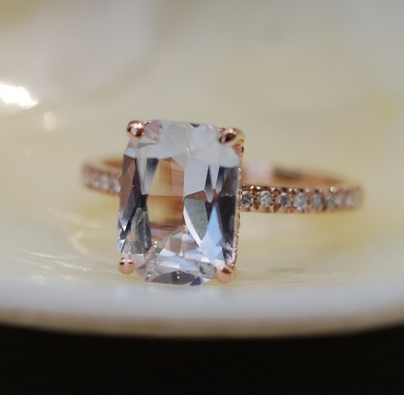 Emerald cut Sapphire Ring. Engagement Ring emerald cut 14k rose gold diamond ring 3.03ct sapphire ring by Eidelprecious