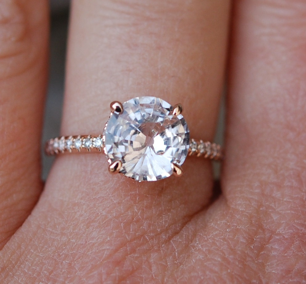 rose gold engagement ring round peach sapphire by. Black Bedroom Furniture Sets. Home Design Ideas