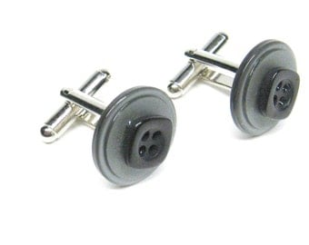 Cuff Links Mens Gray and Black Vintage Buttons
