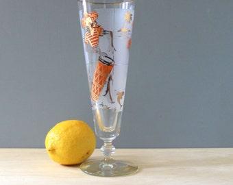 Caribbean Dancers. Vintage 1950s tall beer glass, mid century modern barware.