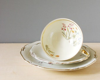 Summer Flowers. Vintage 1930s Weissenstadt Bavaria dessert set: cup, saucer and plate.