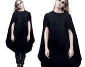 SALE 20% BABOOSHKA Modern Goth Black Cross Your Heart Lovechild Capelett Cape Minimalist Poncho T-Shirt Top Layering Tunic Oversized  Cloak